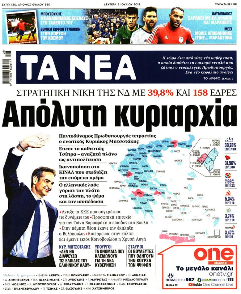 Τα πρωτοσέλιδα των εφημερίδων για το εκλογικό αποτέλεσμα – News.gr