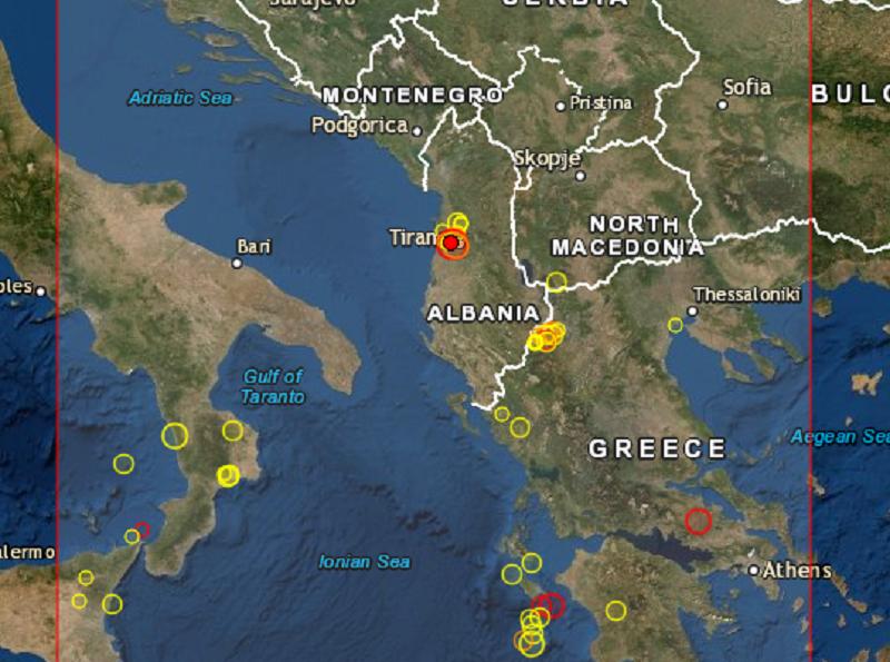 Ισχυρός σεισμός έπληξε την Αλβανία